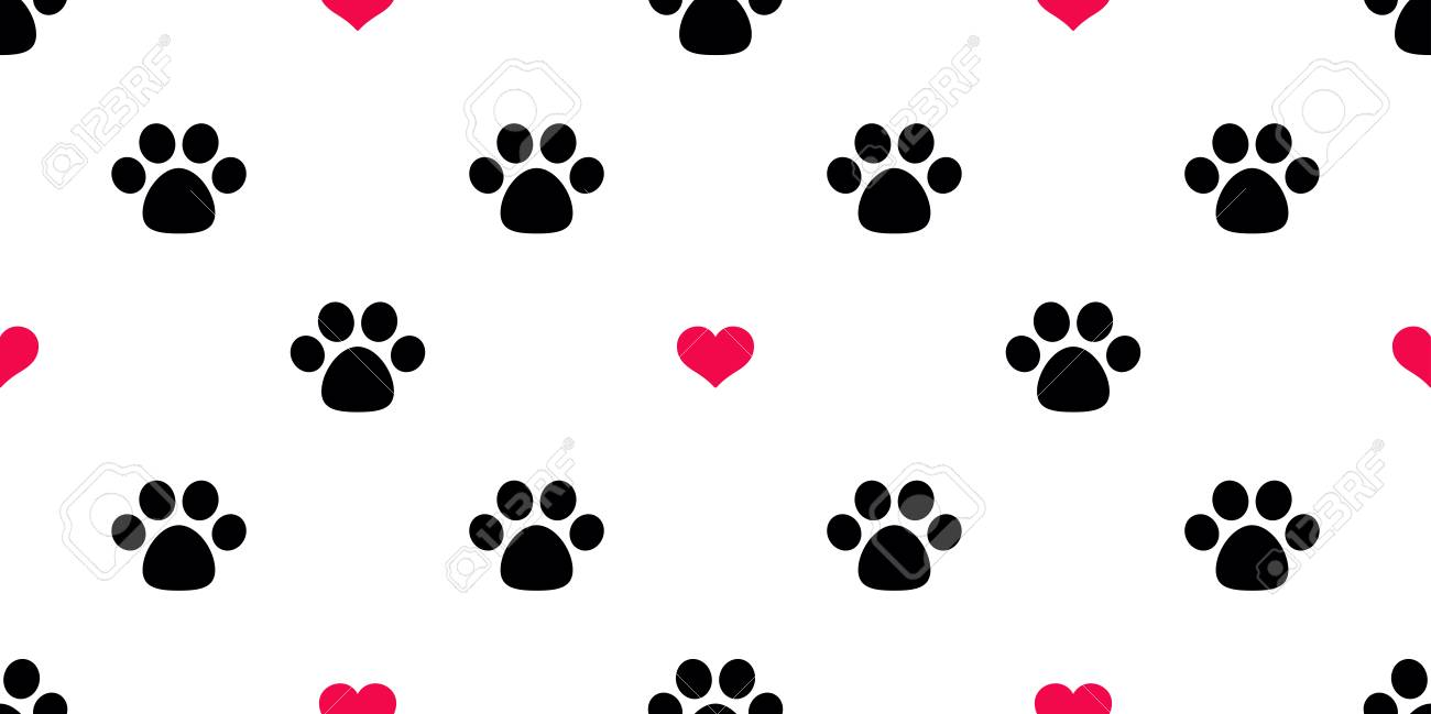 Dog Paw Seamless Pattern Vector Heart Valentine Isolated Cat Red Puppy Kitten Icon Foot Print