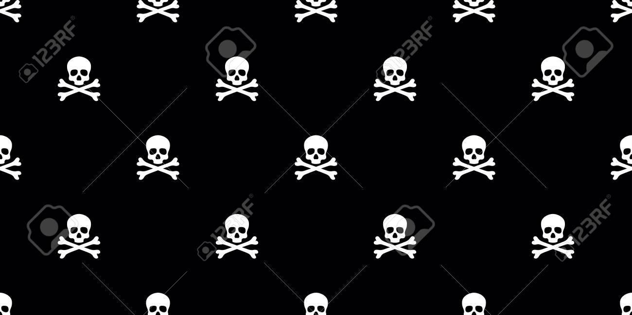 Skull Pirate Seamless Pattern Vector Bone Isolated Wallpaper