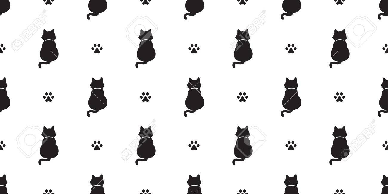 Cat Seamless Pattern Vector Kitten Cat Paw Scarf Isolated Tail