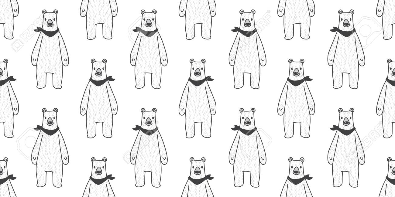 Bear seamless pattern vector polar bear panda isolated teddy scarf background wallpaper white Stock Vector -