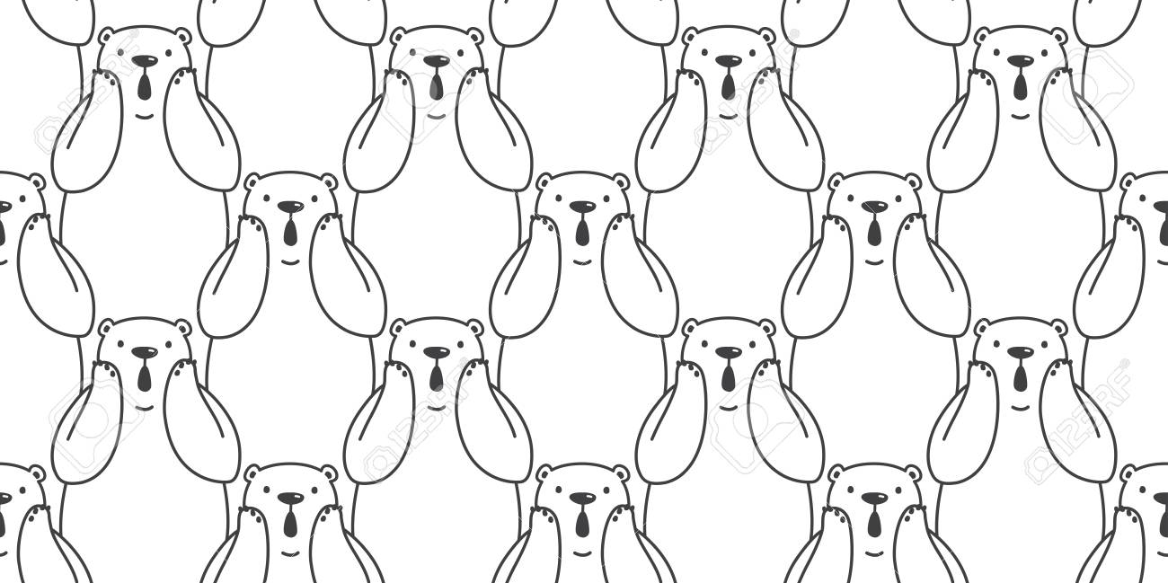 Bear seamless pattern vector polar bear panda isolated icon teddy doodle wallpaper background Stock Vector -
