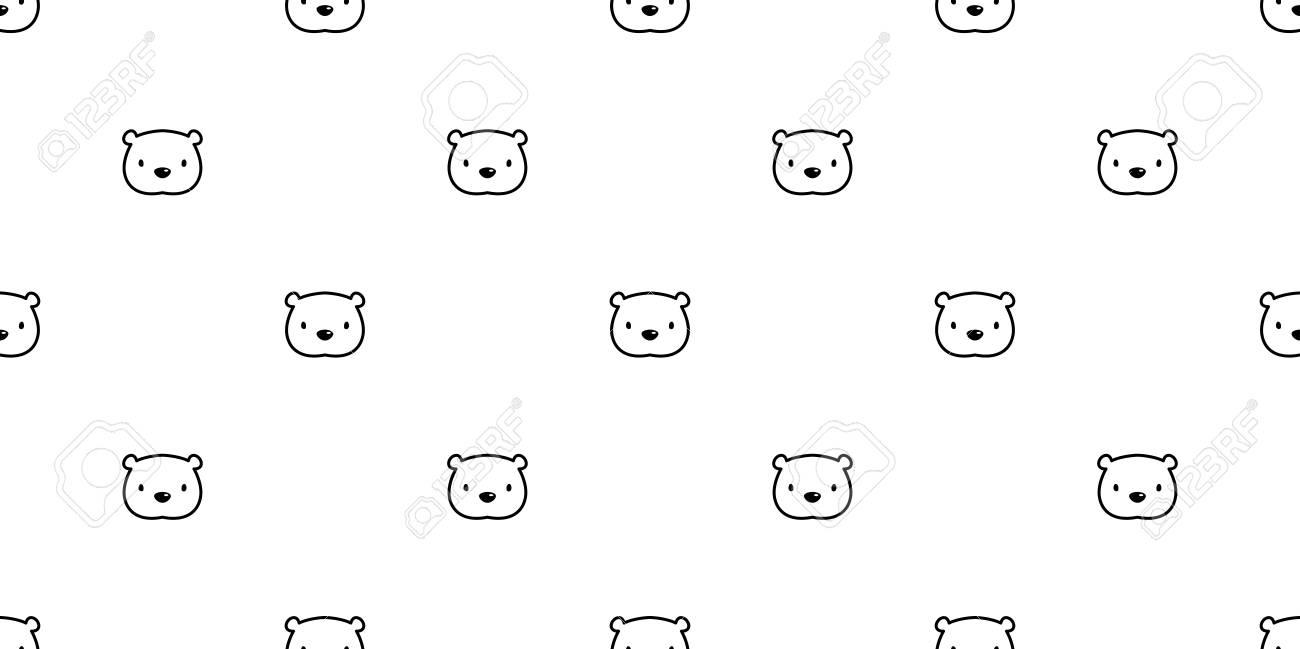 Bear seamless pattern vector polar bear panda head face isolated teddy background wallpaper Stock Vector -
