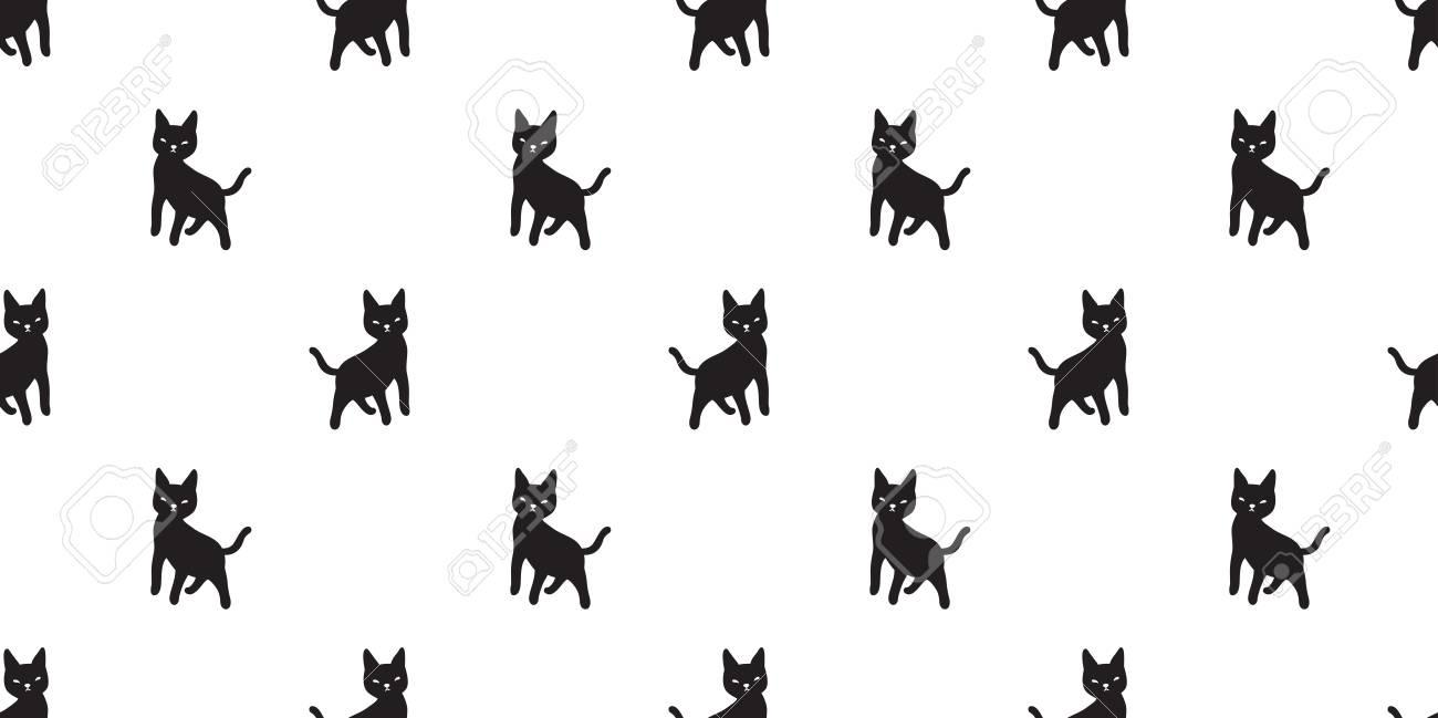 Cat Seamless Pattern Vector Kitten Halloween Isolated Wallpaper