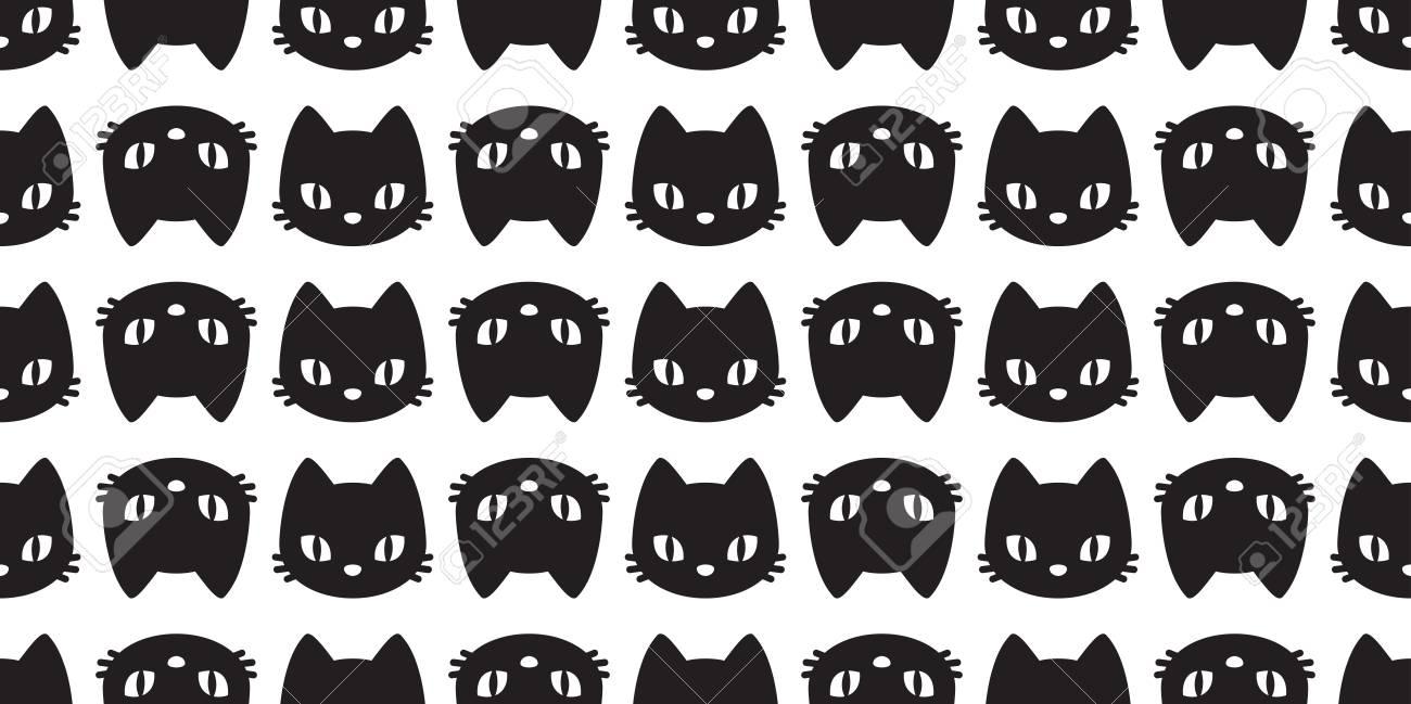 Cat Seamless Pattern Vector Kitten Head Halloween Isolated Wallpaper Cartoon Background Stock Vector 109629192