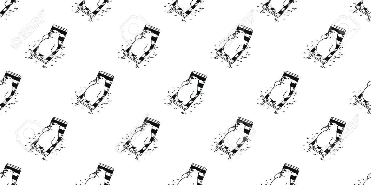 Bear Seamless Pattern Polar Bear vector panda beach isolated holiday tile wallpaper repeat background Stock Vector