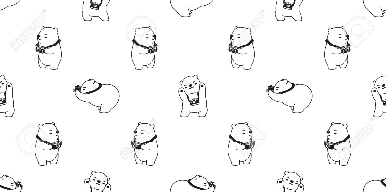 Bear seamless pattern polar bear vector panda isolated camera photographer repeat wallpaper tile background cartoon white