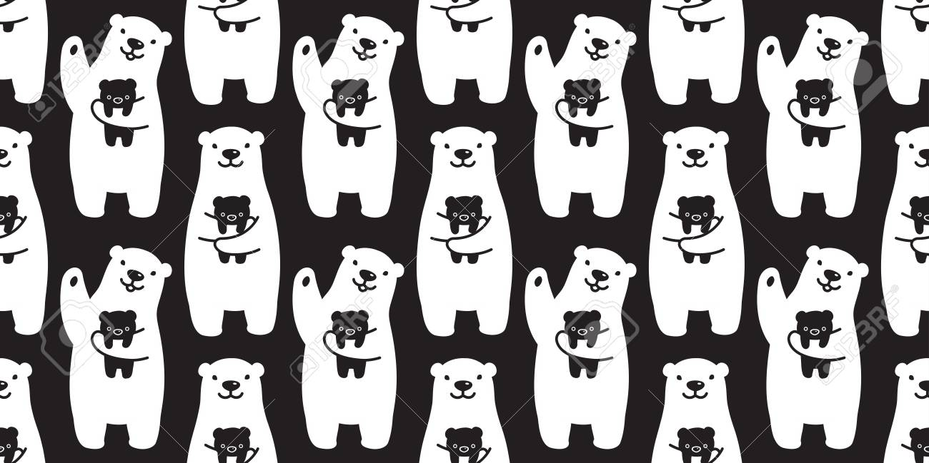 bear seamless pattern polar bear vector panda teddy isolated tile background repeat wallpaper cartoon black Stock