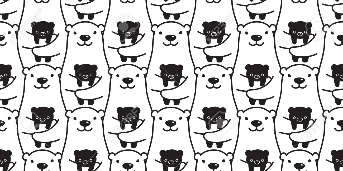 bear seamless pattern vector polar bear panda teddy isolated tile background repeat wallpaper Stock Vector -