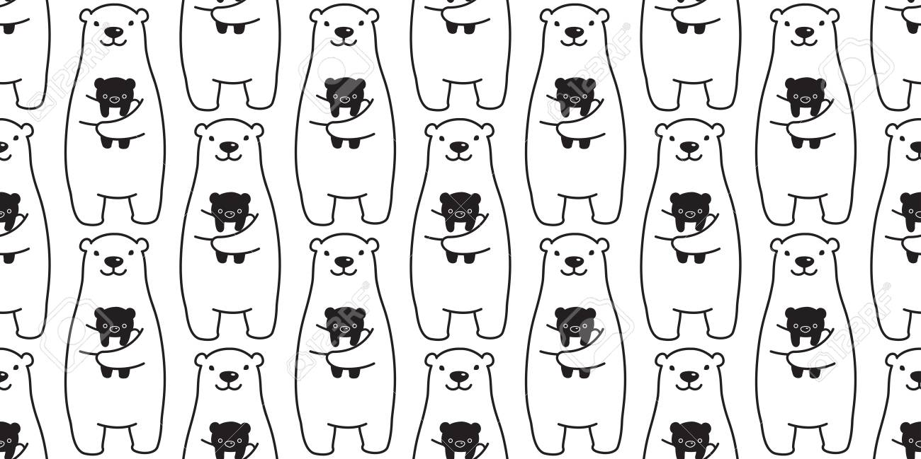 bear seamless pattern vector polar bear panda teddy isolated background repeat wallpaper Stock Vector - 116527941