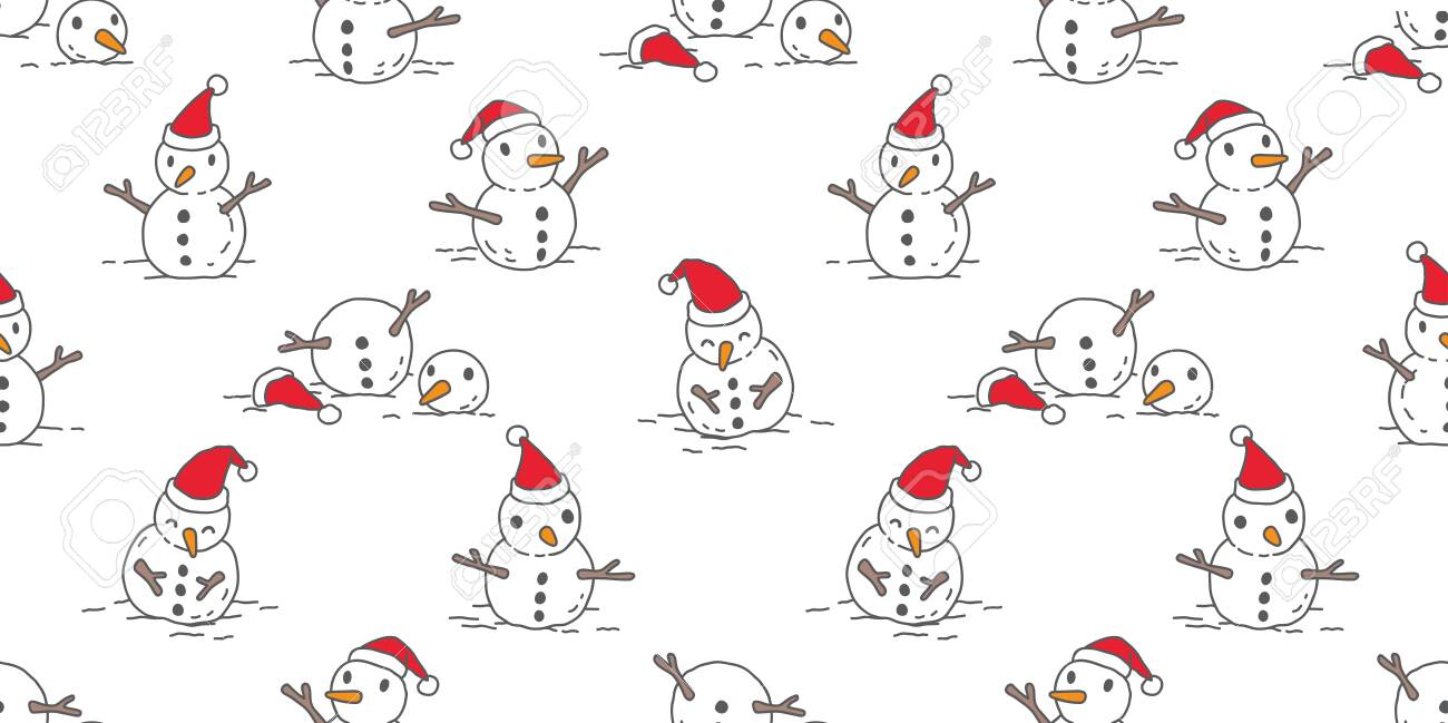 Snowman Seamless Pattern Vector Christmas Santa Claus Isolated