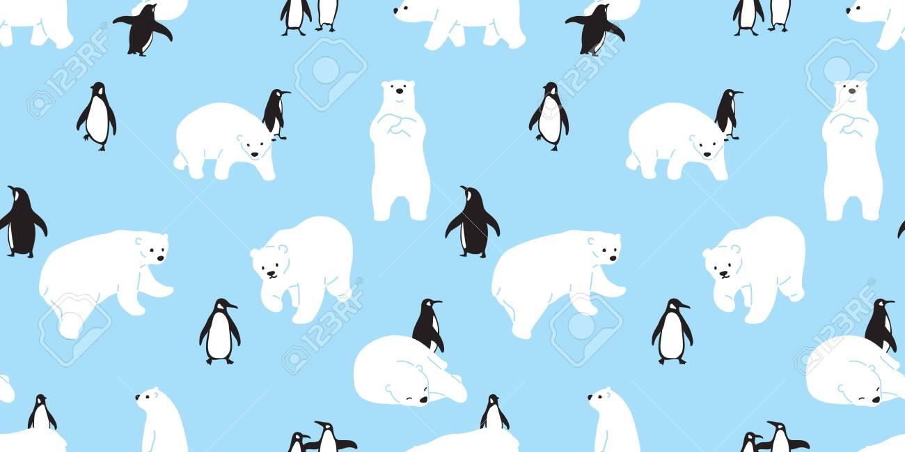 Bear Seamless Pattern Polar Bear Vector Penguin Christmas Scarf Royalty Free Cliparts Vectors And Stock Illustration Image 129296003