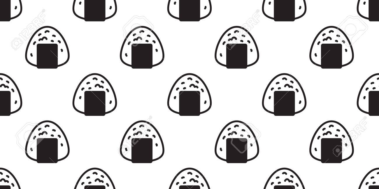 Onigiri Seamless Pattern Vector Sushi Japanese Food Tile Background