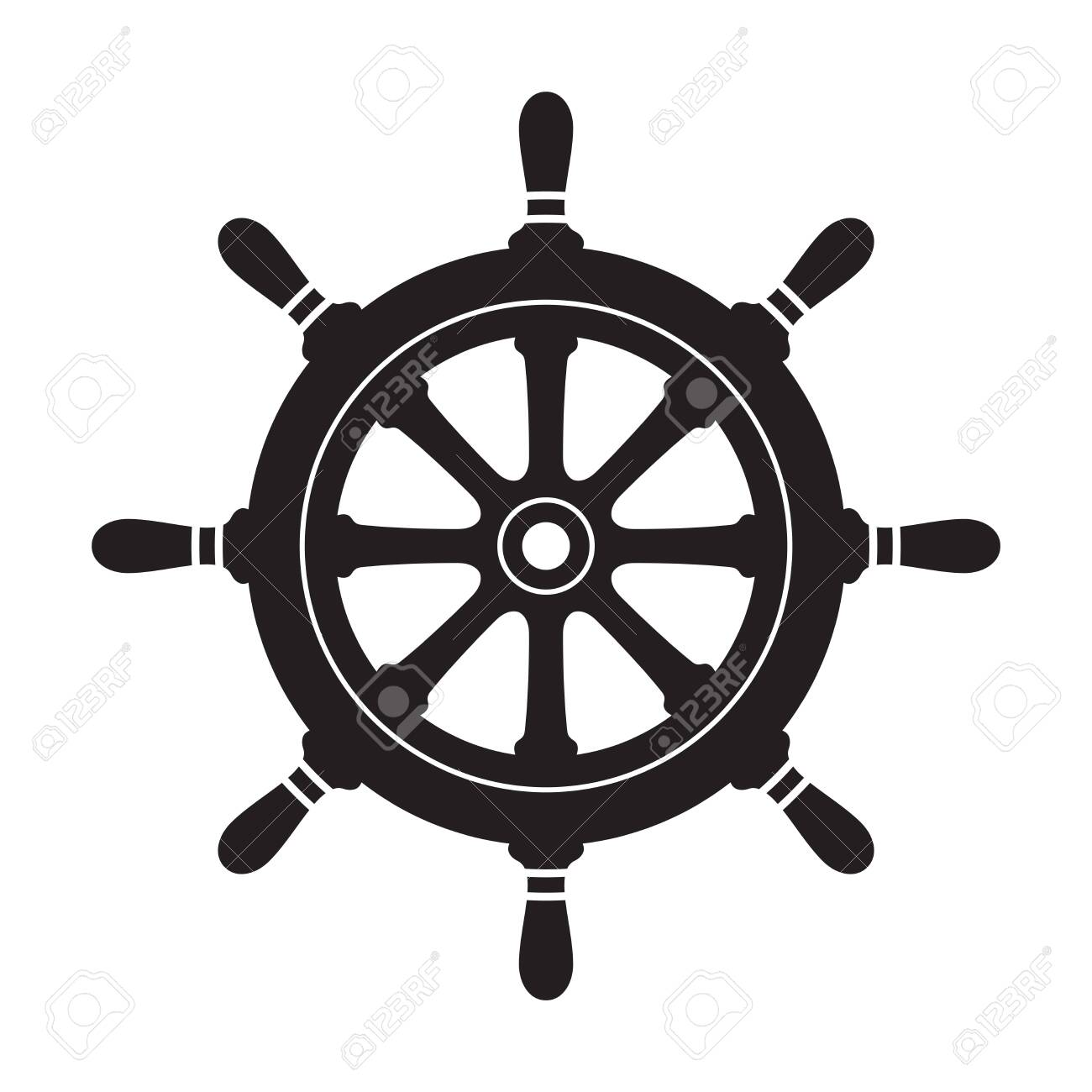 Helm Anchor vector icon logo pirate Nautical maritime ocean sea boat illustration - 135683252