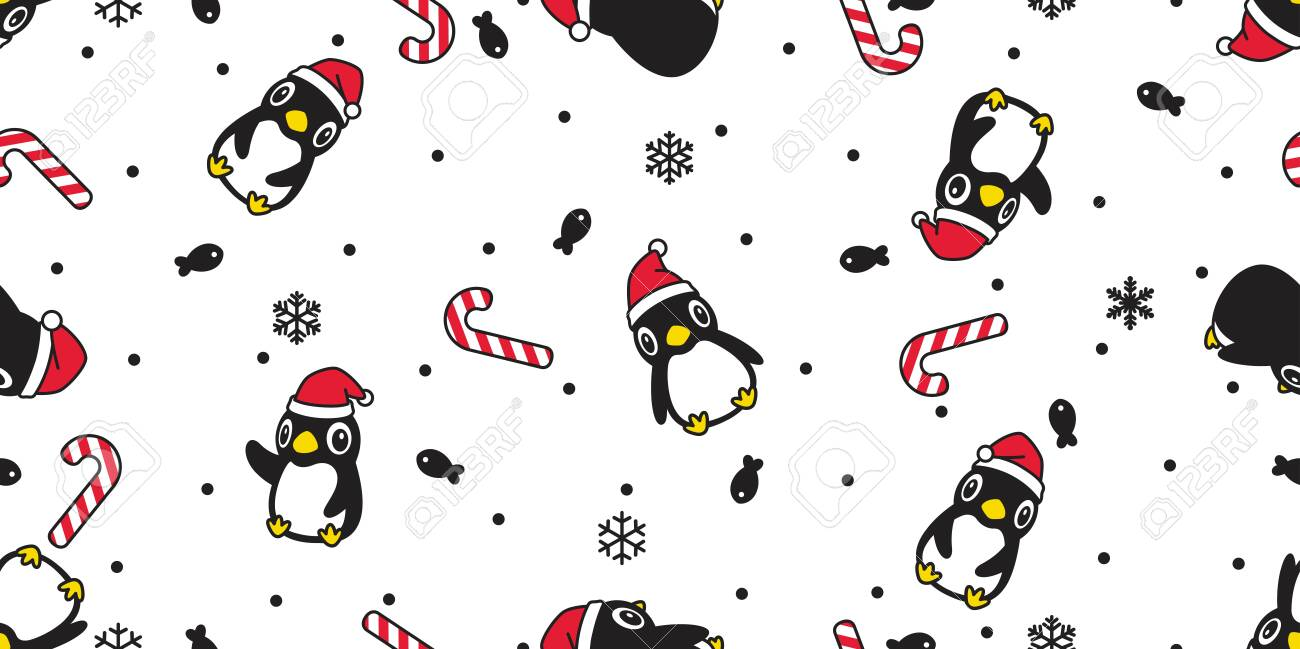 138533351 penguin seamless pattern christmas vector santa claus hat candy cane scarf isolated repeat wallpaper