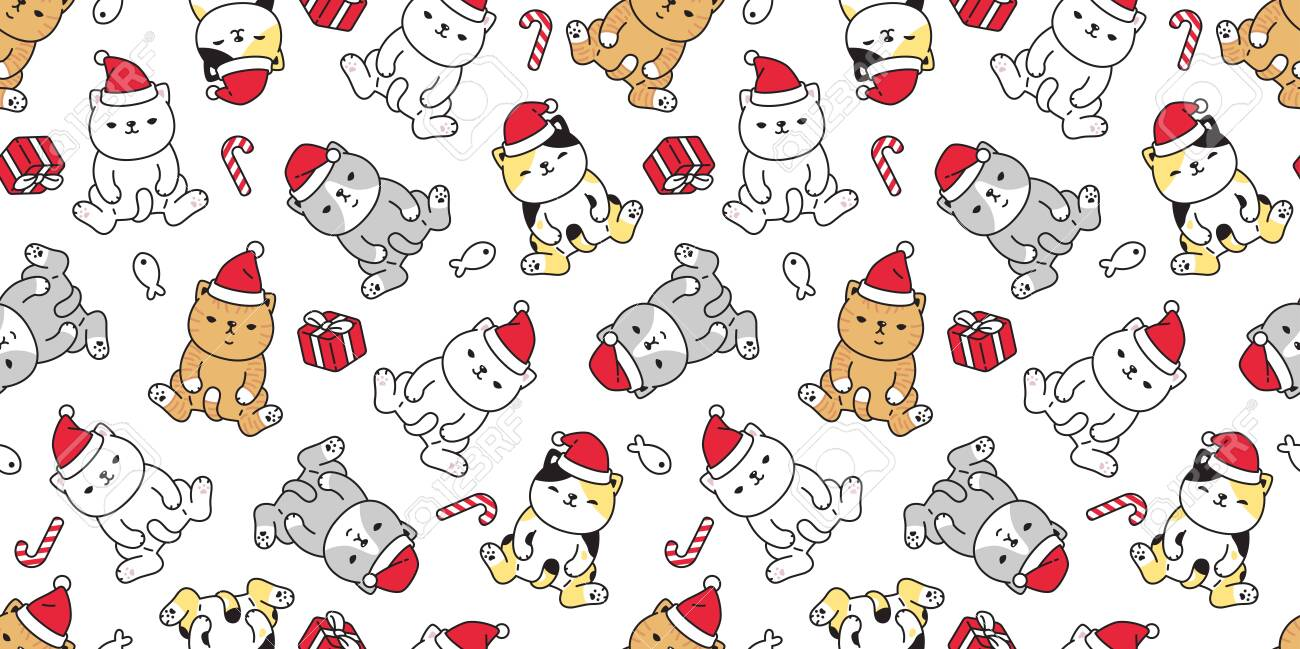 138533564 cat seamless pattern christmas vector santa claus hat kitten candy cane gift box cartoon scarf isola