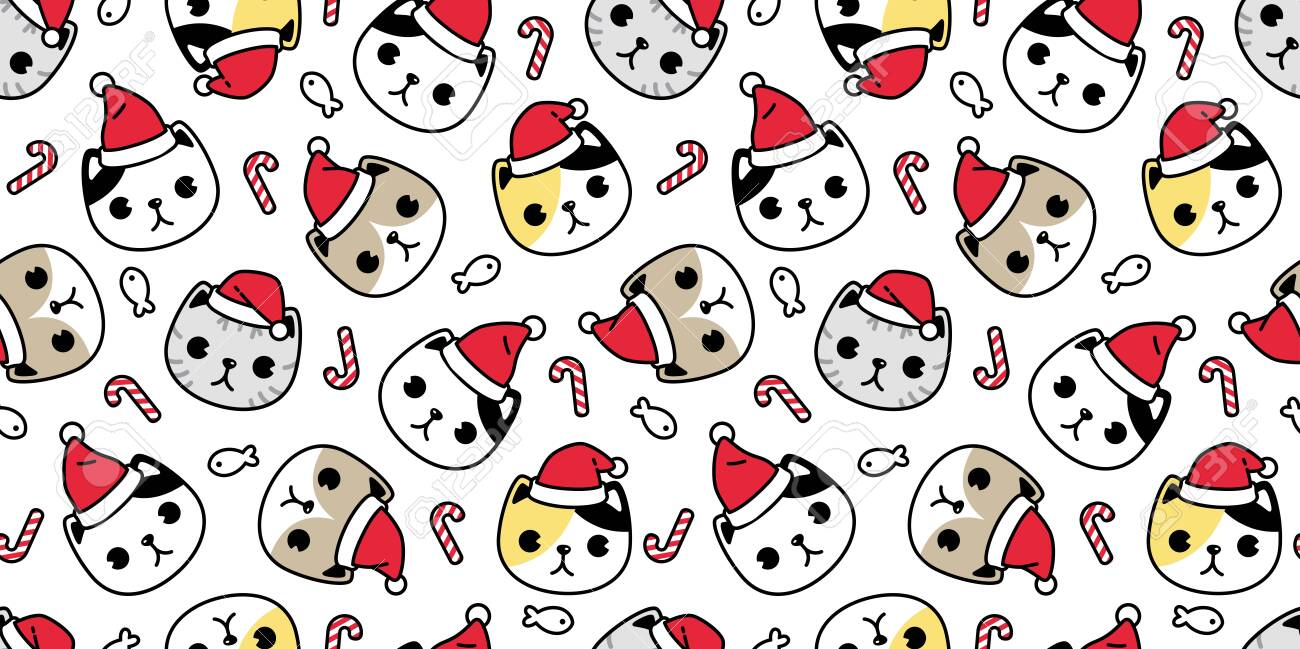 138533658 cat seamless pattern christmas vector santa claus hat kitten head candy cane cartoon scarf isolated