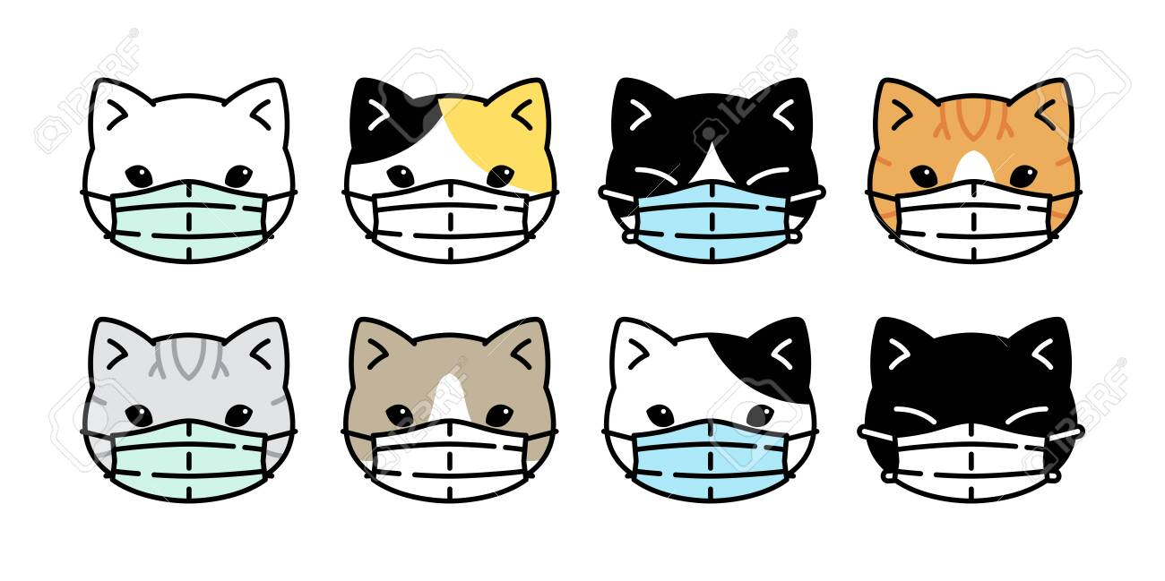 Cat Vector Face Mask Covid 19 Kitten Corona Virus Pm 25 Icon