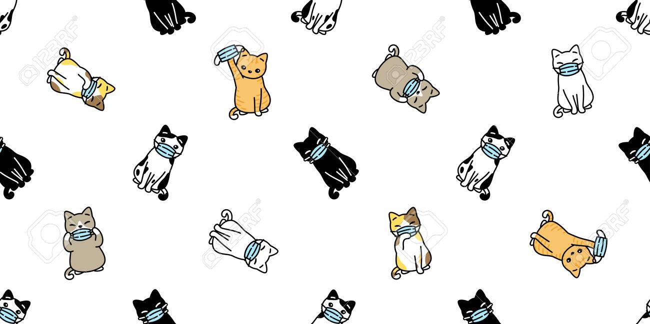 Cat Seamless Pattern Face Mask Covid19 Kitten Corona Virus Pm