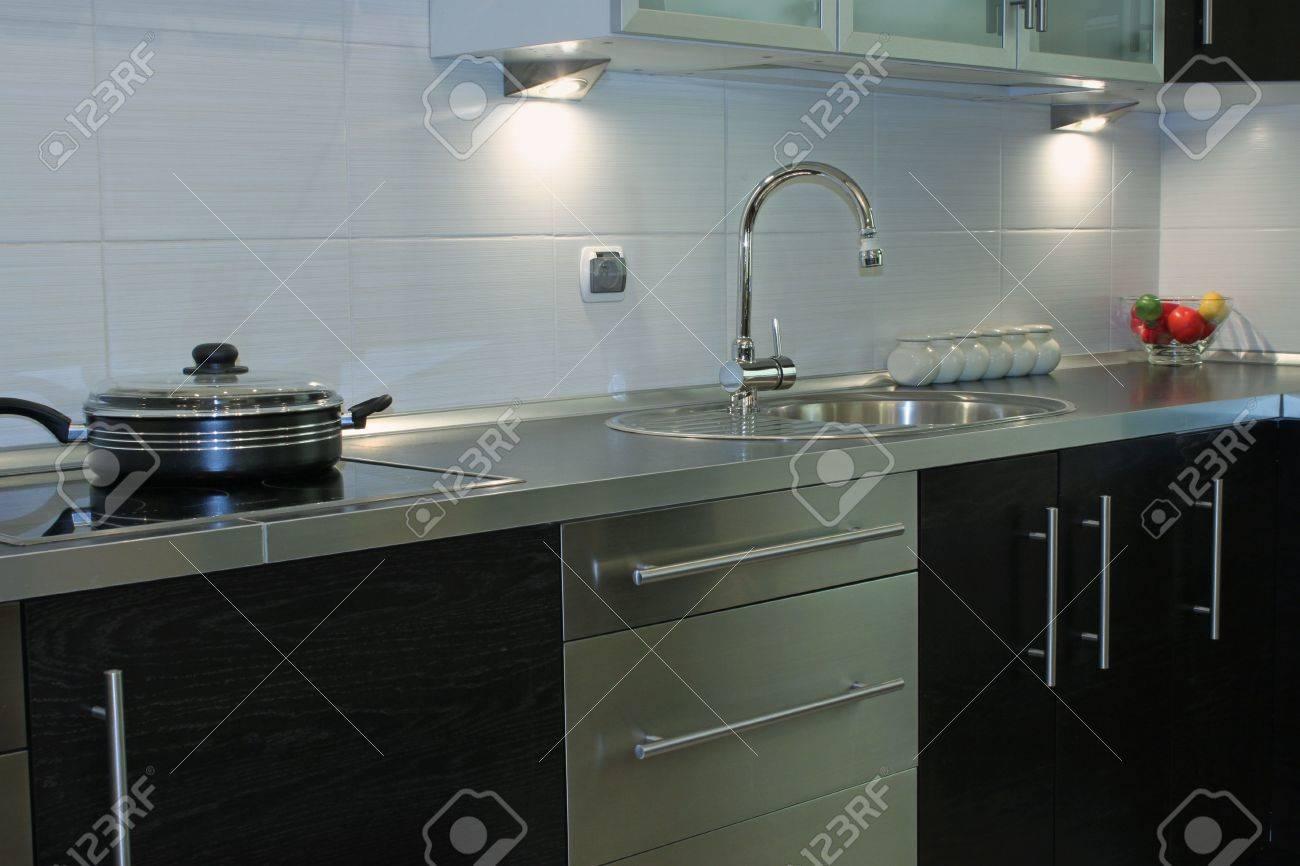 Interesting modern kitchen silver black Stock Photo - 5749803