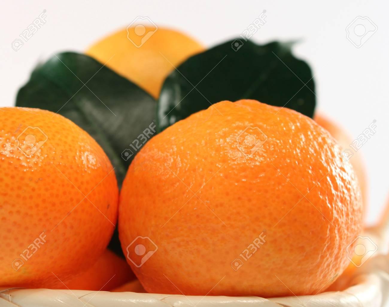 Macro of fresh isolated tangerine on white background Stock Photo - 5923992