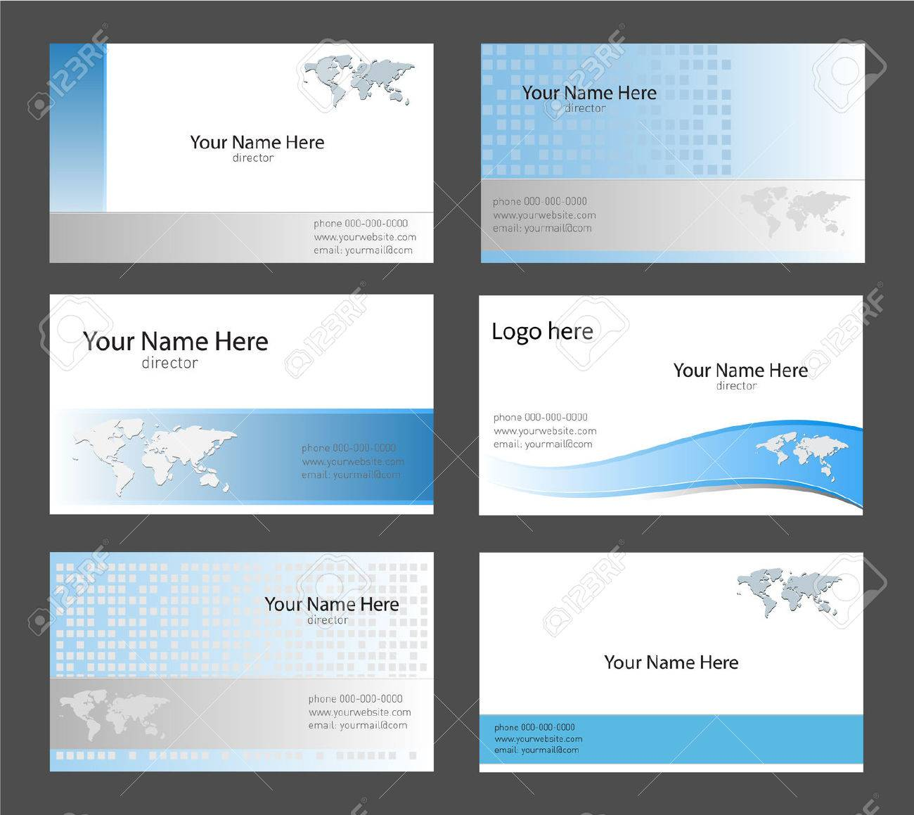 Six Corporate Business Card Templates White, Blue And Grey With ...