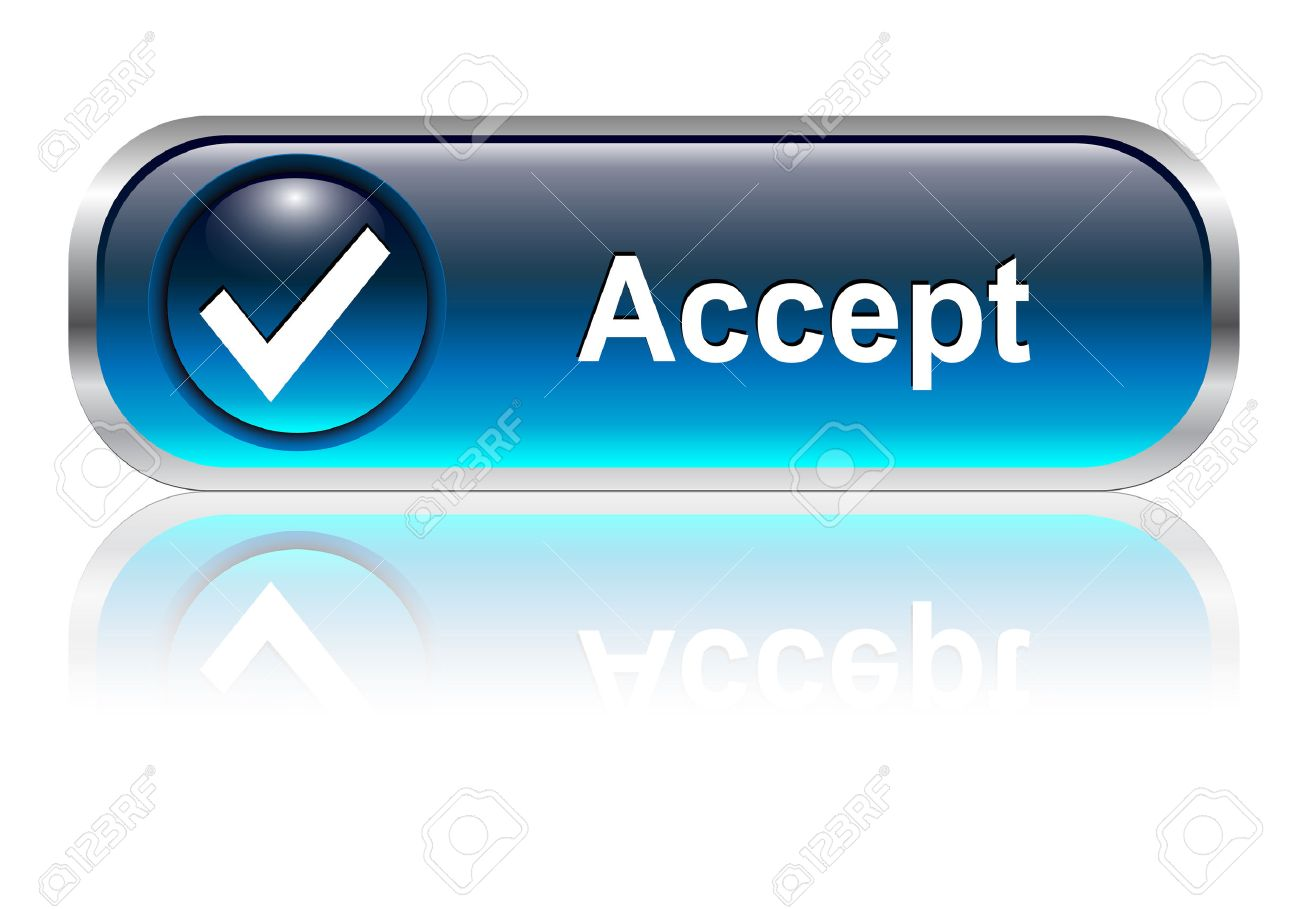 Accept, check symbol icon, button, blue glossy with shadow Stock Vector - 6425747