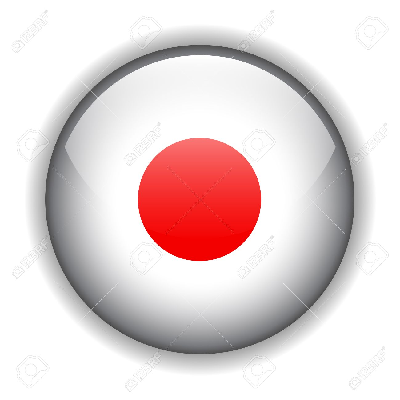 National flag of Japan, glossy button Stock Vector - 6425748
