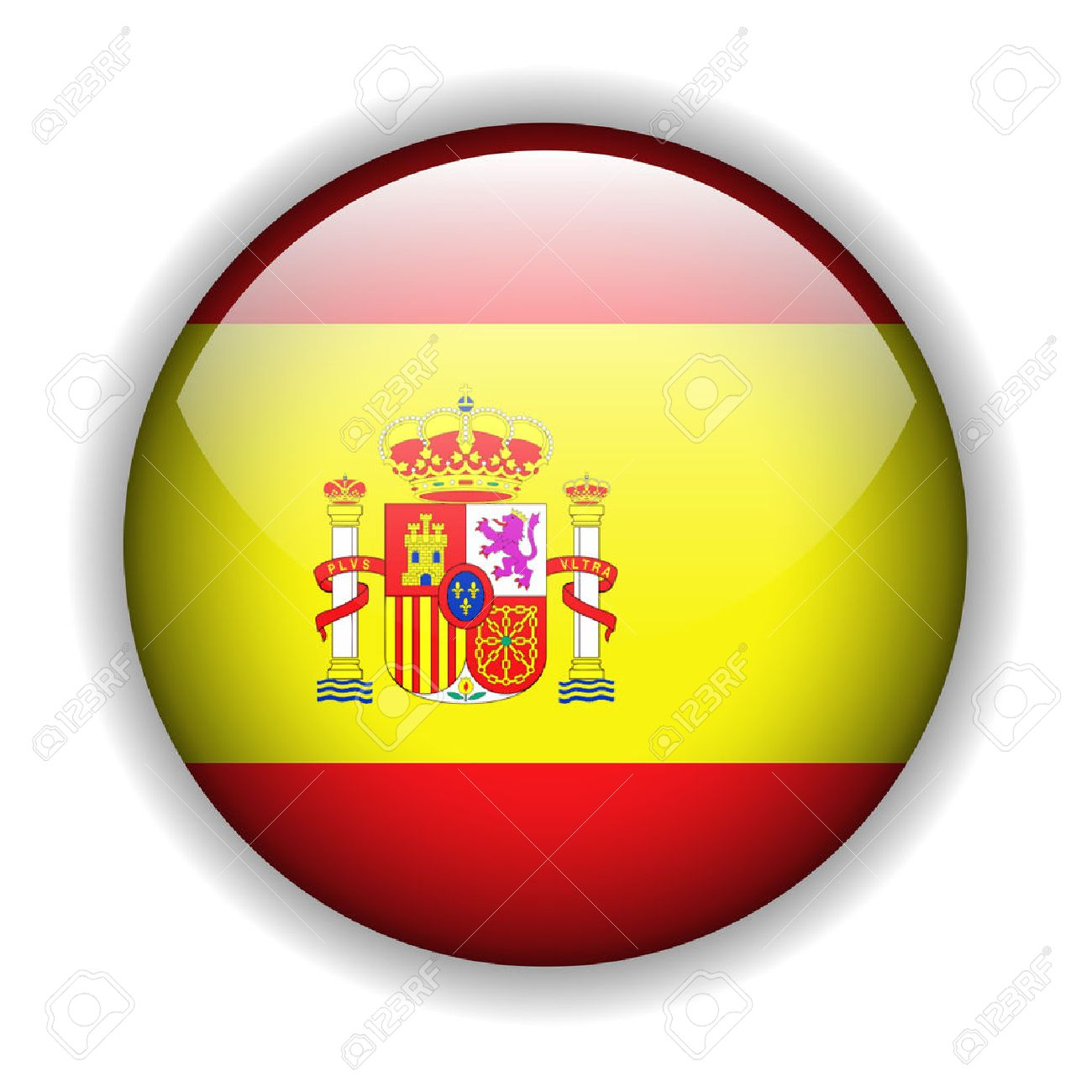 Flag of Spain, Spanish flag, glossy button Stock Vector - 6425763