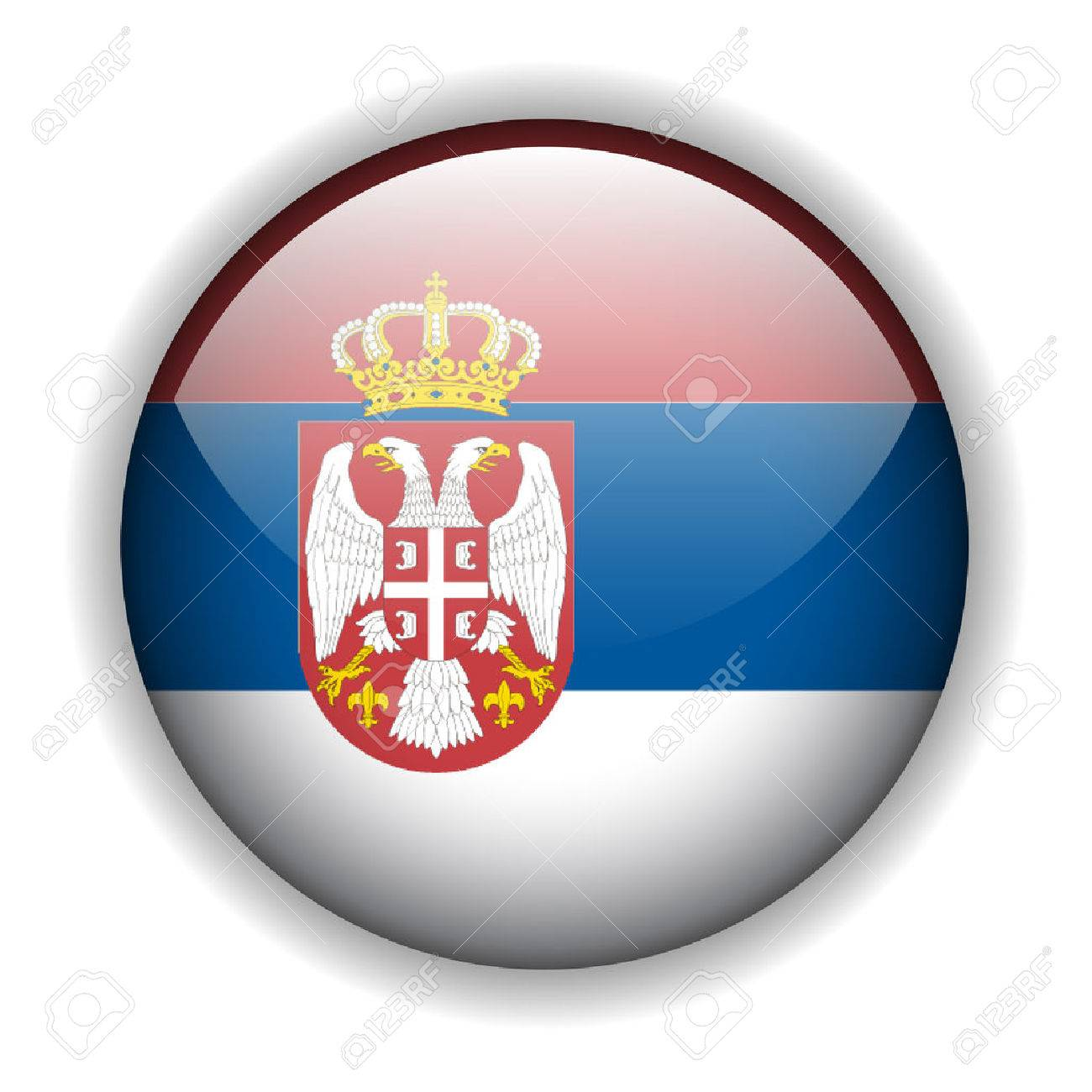 Flag of Serbia glossy button Stock Vector - 6425768