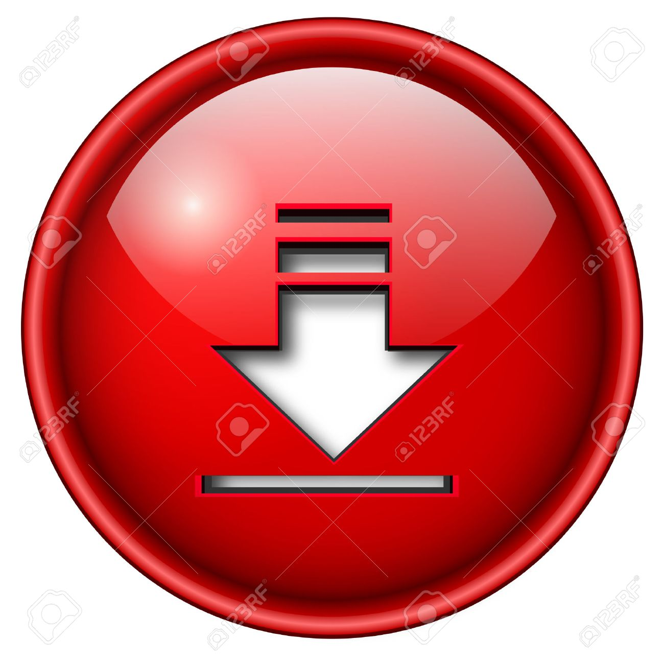download icon, button, 3d red glossy circle. Stock Vector - 6470694