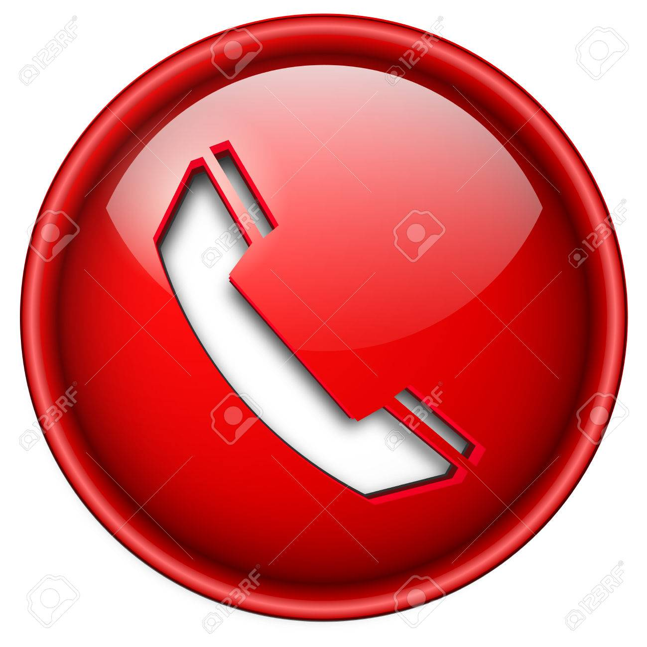 Telephone, phone icon, button, 3d red glossy circle. Stock Vector - 6470711