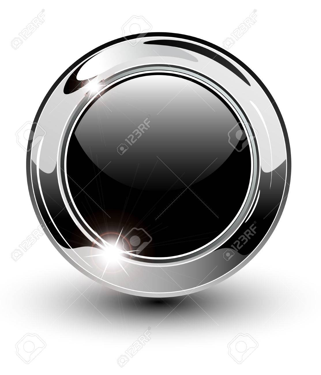 High glossy, beautiful blank web button with metallic chrome elements. Stock Vector - 6510210