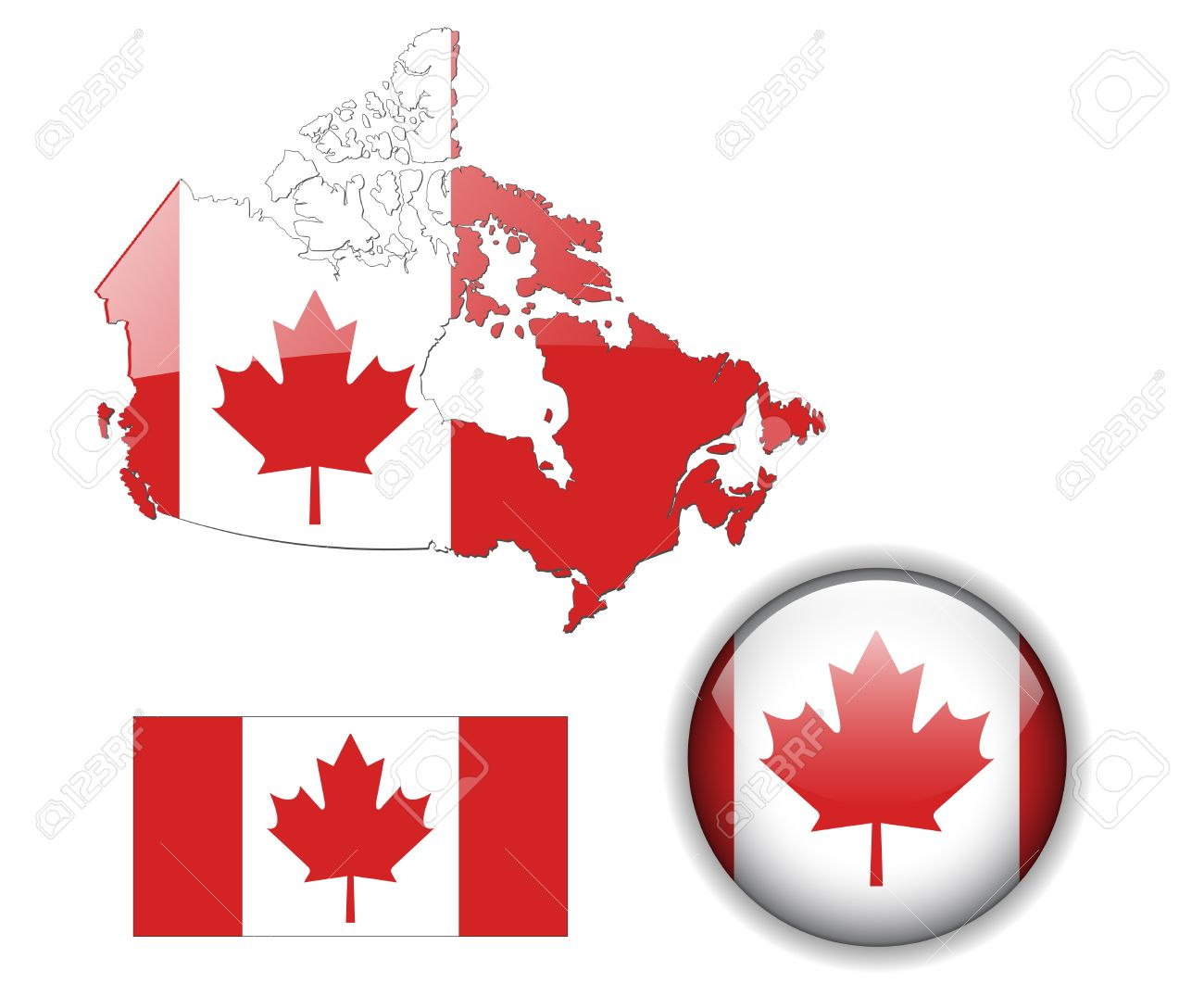 Canada flag, map and glossy button Stock Vector - 6553950