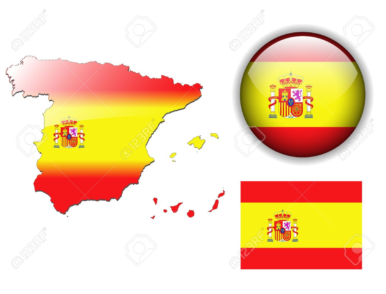 Spain, Spanish flag, map and glossy button Stock Vector - 6553953