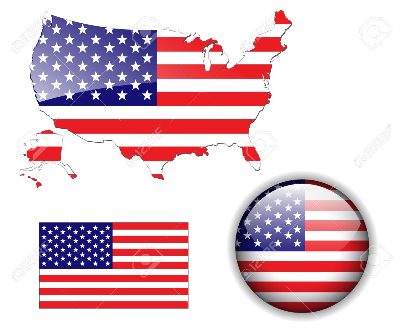 North American USA flag, map and glossy button Stock Vector - 6553949