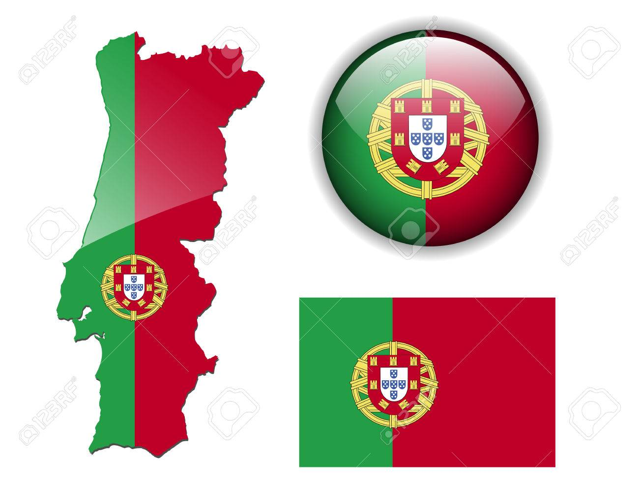 Portugal Portuguese Flag Map And Glossy Button Royalty Free - Portugal map flag
