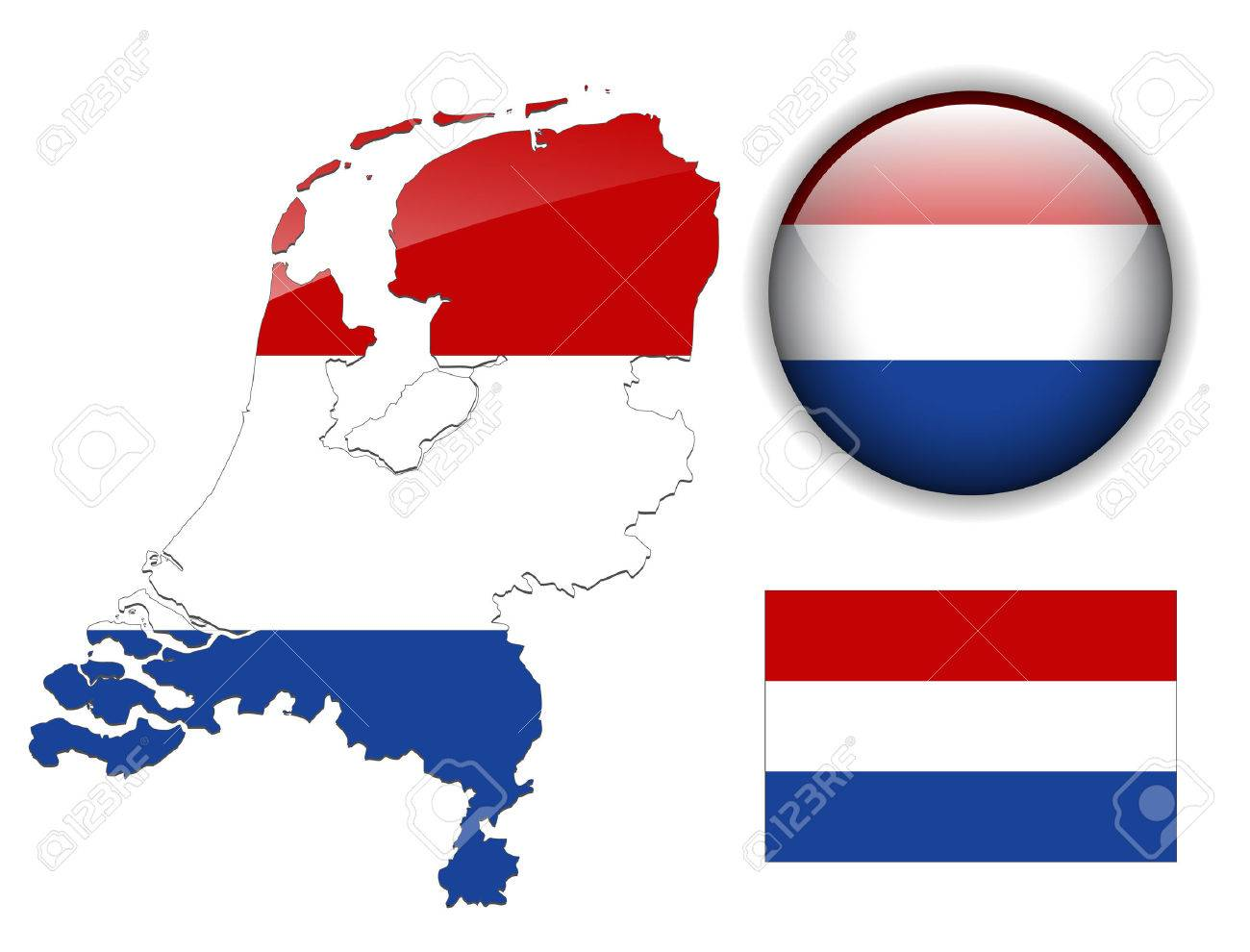 Holland Netherlands Flag Map And Glossy Button Royalty Free