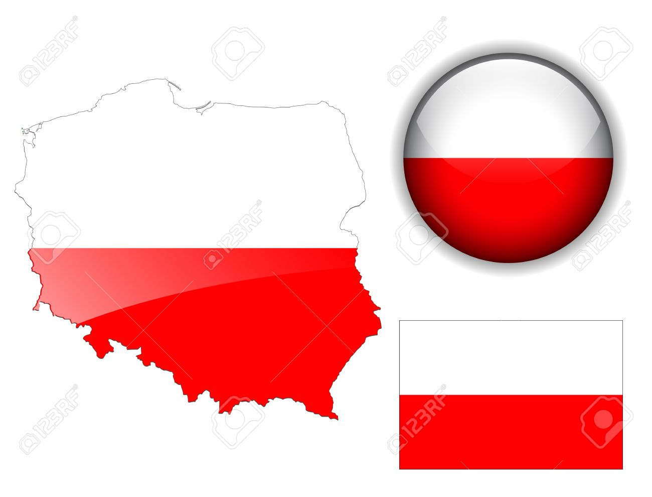 poland polish flag map and glossy button royalty free cliparts