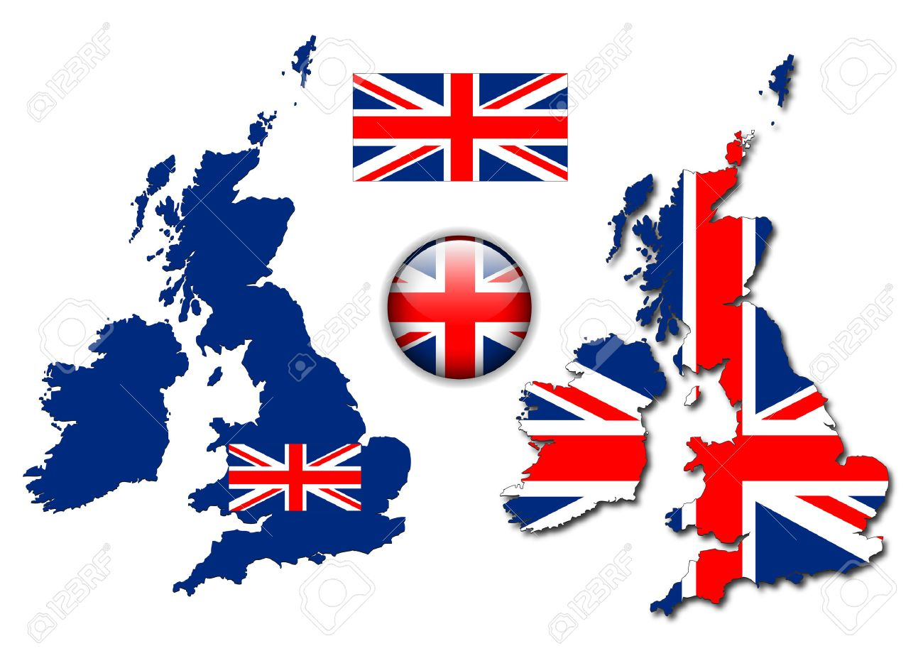 United Kingdom, England flag, map and glossy button, illustration set. Stock Vector - 6596789
