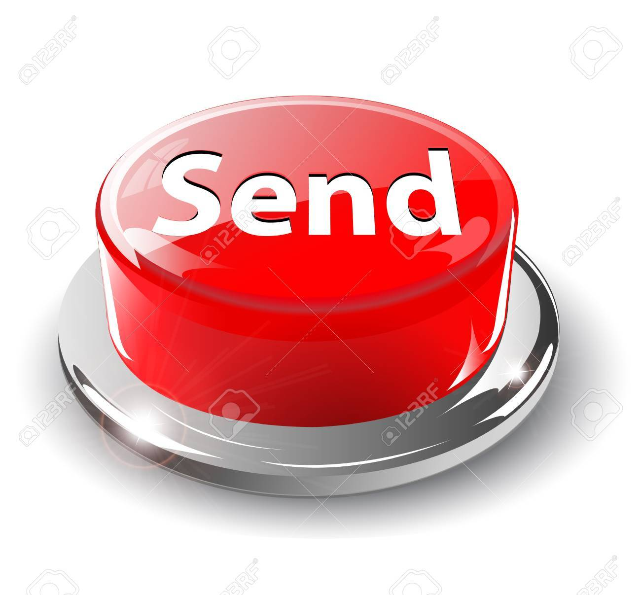 Send, mail button, 3d red glossy metallic Stock Vector - 6596409