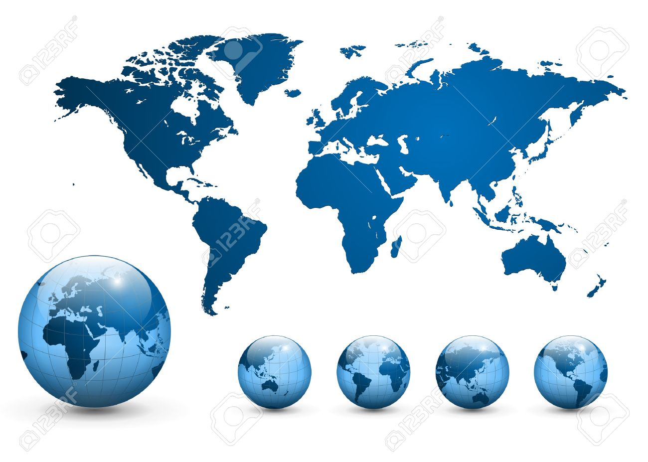 Map Of The World And Earth Globe Royalty Free Cliparts Vectors - Globe map of the world