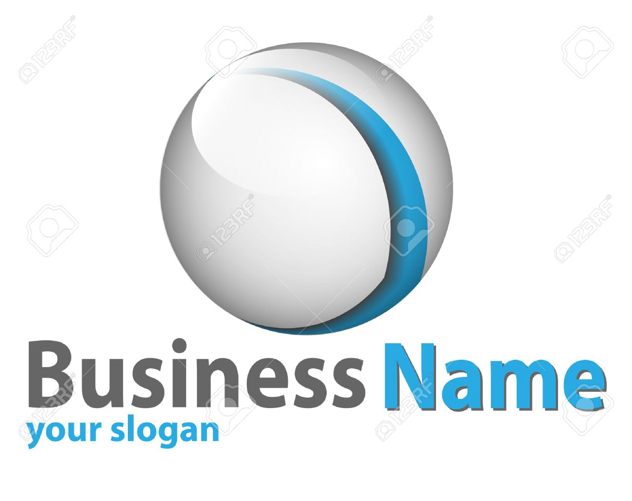 Logo 3d glossy sphere blue and white perfect for your business. Stock Vector - 6637174