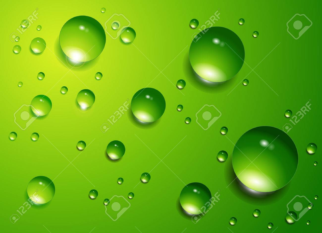 Water drops on green background Stock Vector - 6729826