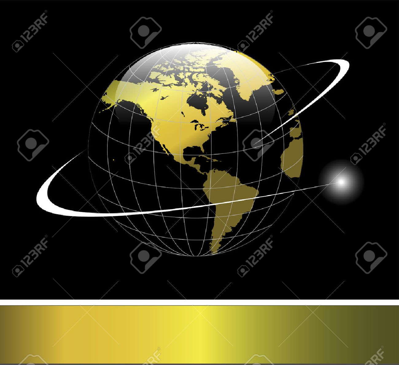 Elegant logo with gold Earth globe with orbit over black background Stock Vector - 6863922
