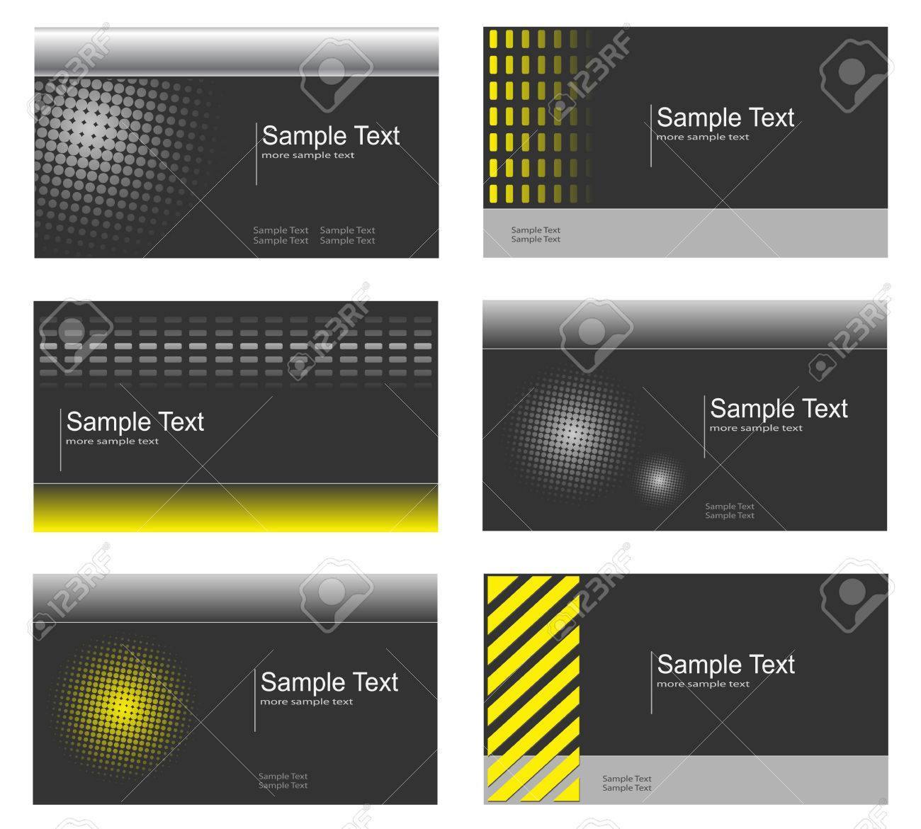 Business card collection, grey and yellow Stock Vector - 6863944