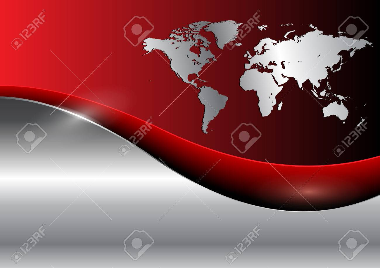 Business background with world map, red and silver Stock Vector - 6864013