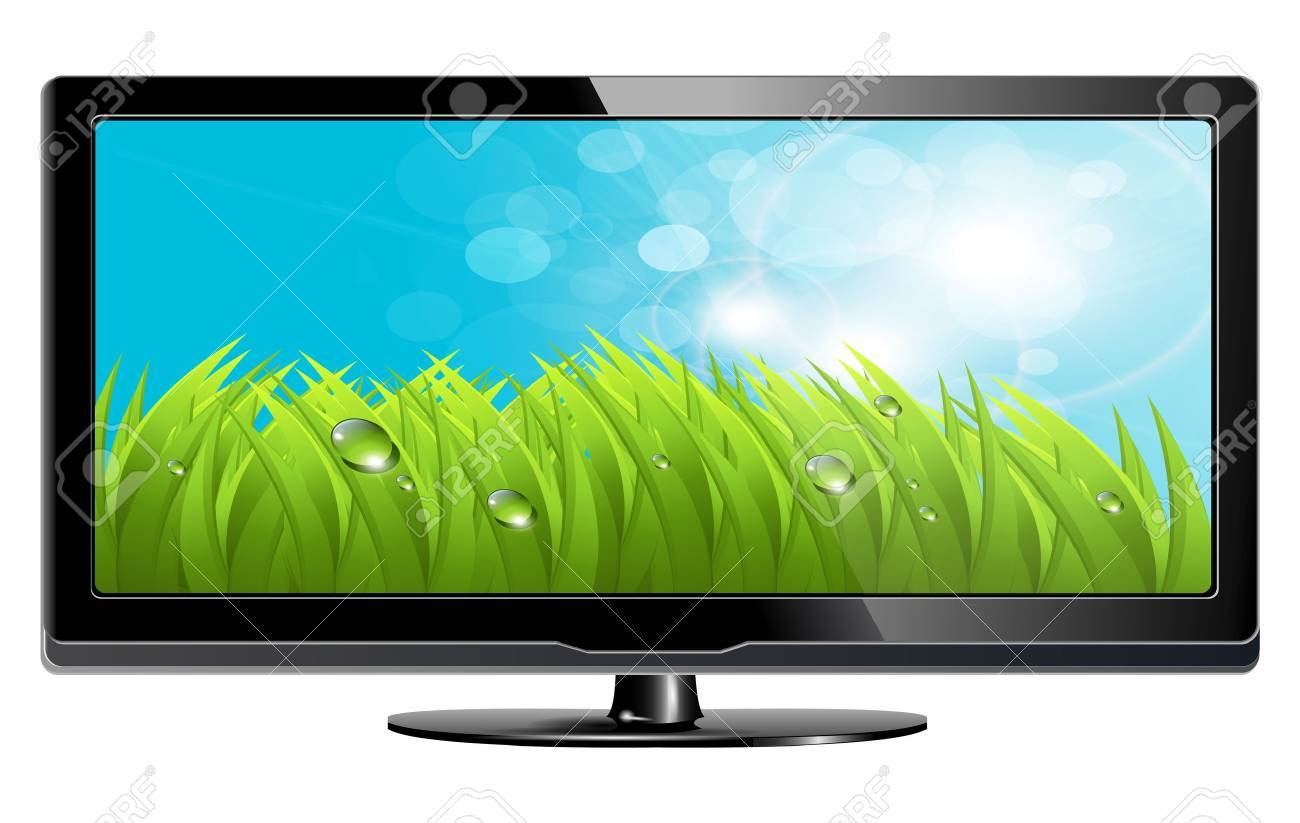 lcd plasma tv with fresh grass on screen Stock Vector - 6864020