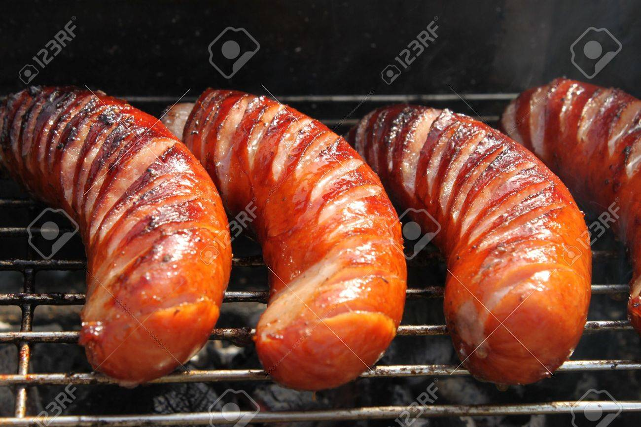 grilled sausages close up, barbecue. - 7005258