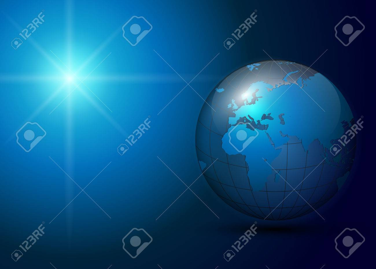 business background blue with earth globe Stock Vector - 7627317