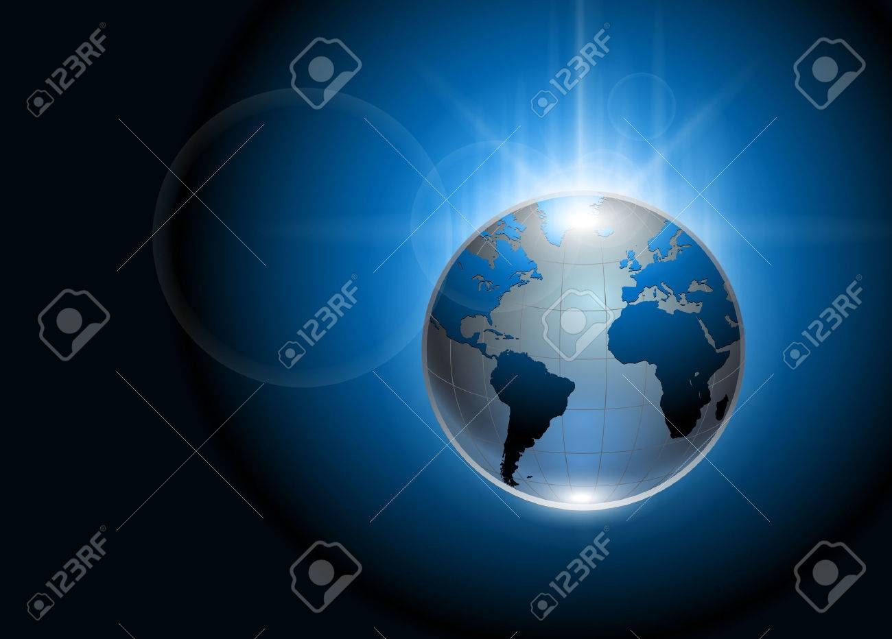 Abstract background blue glowing earth globe Stock Vector - 7910507